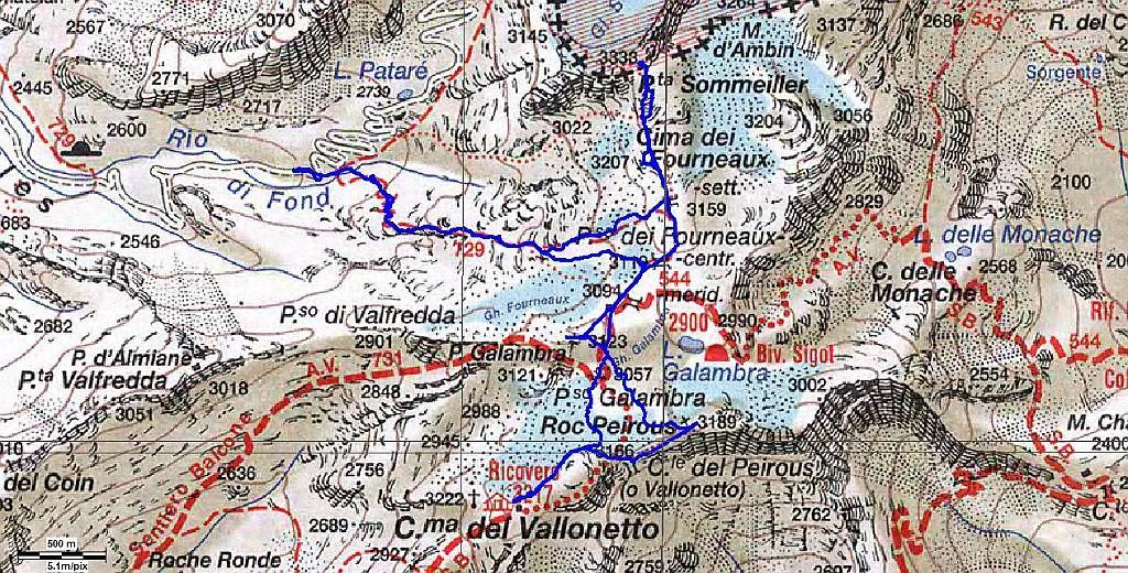traccia gps con relativa mappa del percorso di oggi