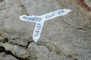 il bivio per la Anenhutte e il ghiacciaio che porta verso la Hollandia Hutte (30-8-2013)