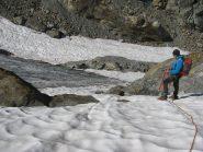 Tratto ripido del ghiacciaio durante la discesa