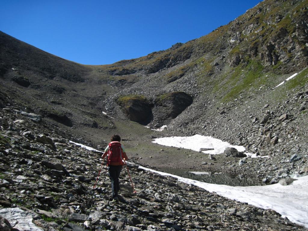 Quasi al laghetto con il passo Muret sullo sfondo