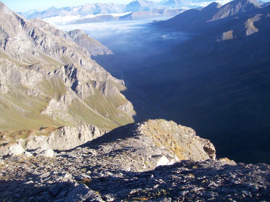 Da cima Appenna: le nebbie si ritirano dalla Val Troncea