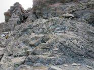 Il primo ostacolo roccioso da risalire per la Sud