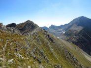 Il percorso dal crinale e il Colle del Vei del Bouc