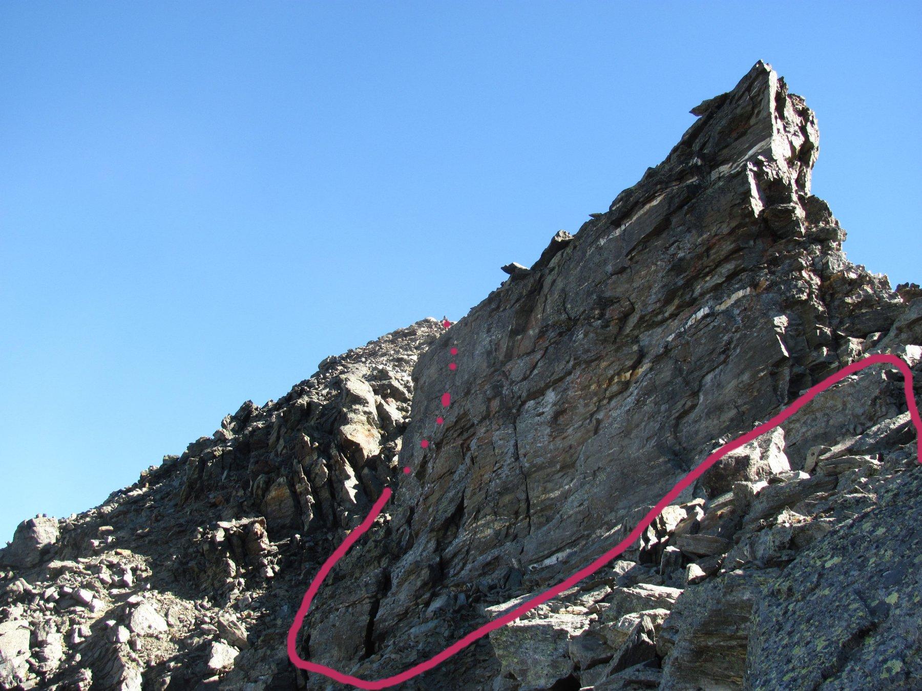 arrivati al Colle e risalendo verso est, questa è la traccia indicativa di salita (include breve discesa su cengia)
