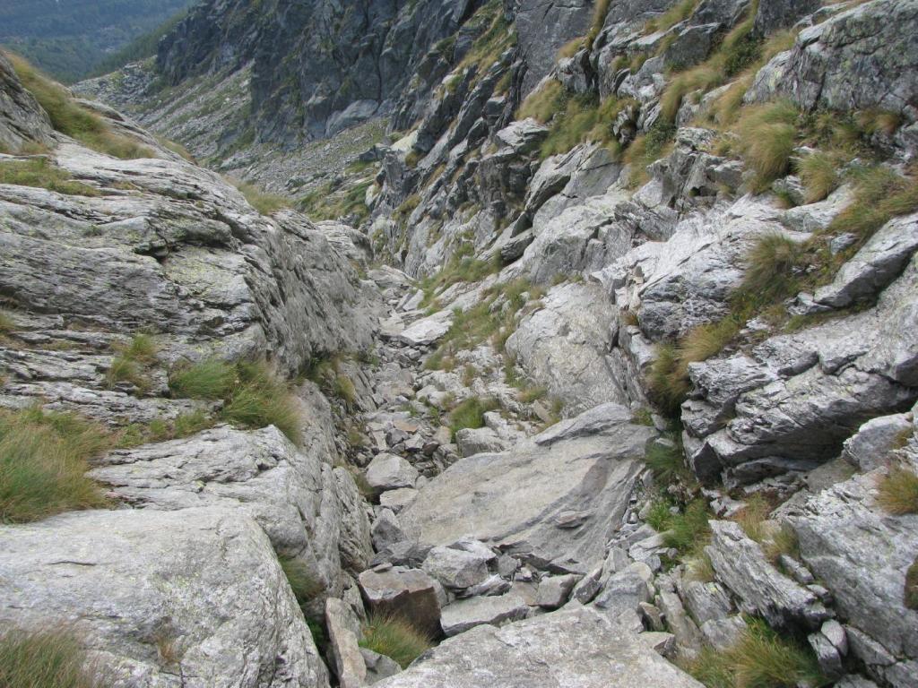 Vista dall'alto del canale di salita