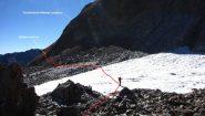 il nevaietto perenne da attraversare il costolone Est del Laroussa (12-10-2013)