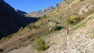 il tratto iniziale del sentiero per il Passo di Laroussa (12-10-2013)