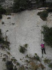 rocciatrice piacentina sulla L4 (foto scattata dalla vetta del Campanile)