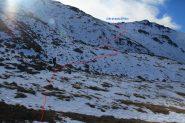 il versante di salita verso il colle di quota 2750 m. (19-10-2013)