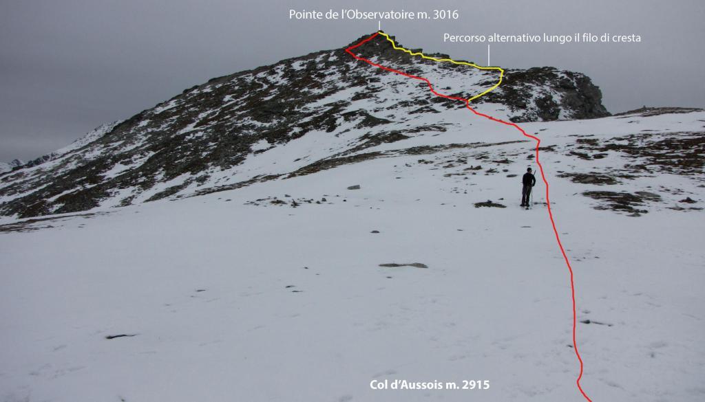 la cima con il tratto finale del percorso da fare vista dal Col d'Aussois (1-11-2013)