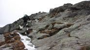 Enrico nel tratto roccioso finale sotto la cima (1-11-2013)