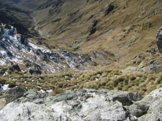 Vista dalla vetta del canale di accesso