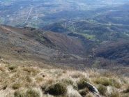 la strada per il Colle Pian dei Muli vista dalla cima