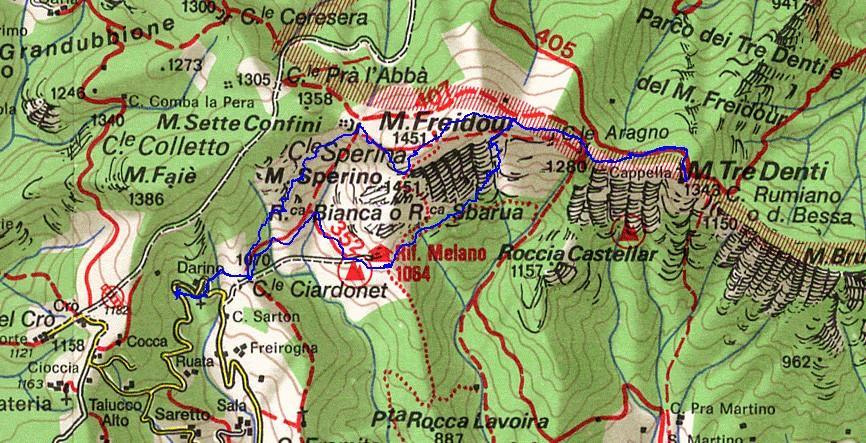 cartina e traccia gps della gita di oggi