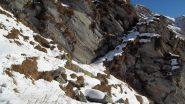 La cengia per accedere agli alti pascoli dell'Alpe Larone