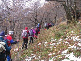 Comitiva in cammino ad inizio sentiero