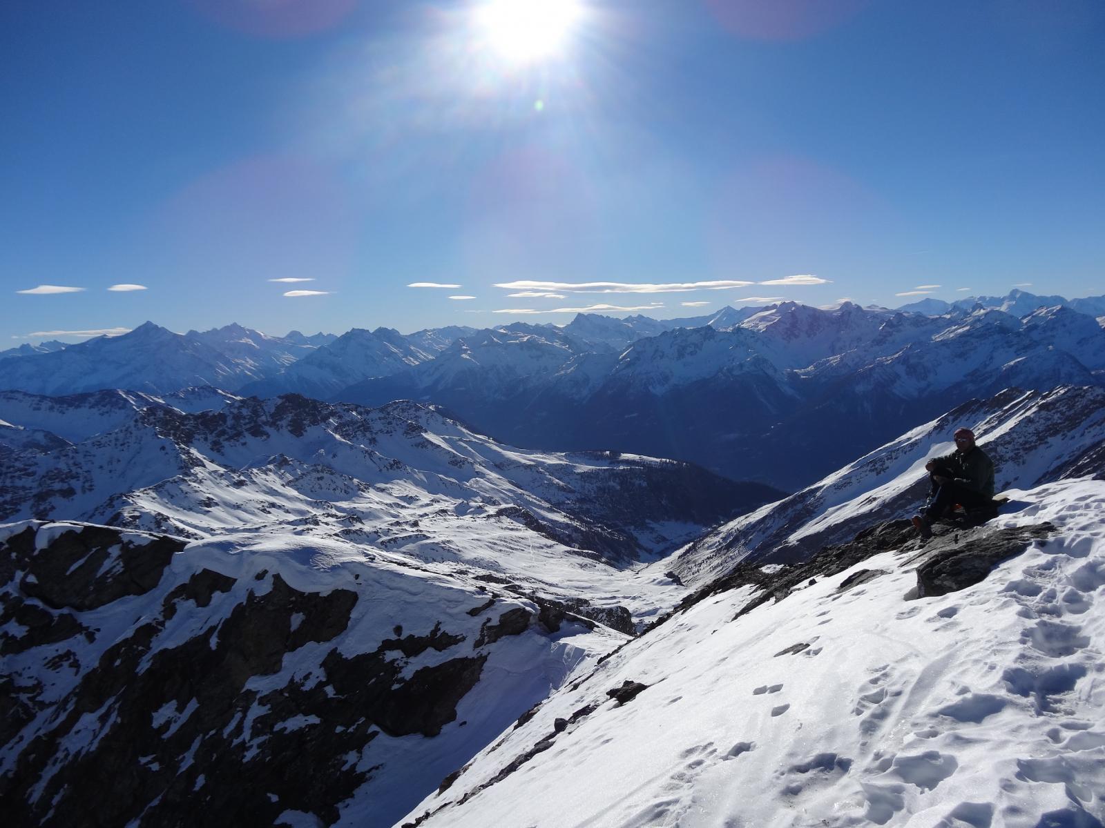 la cima e la cresta percorsa