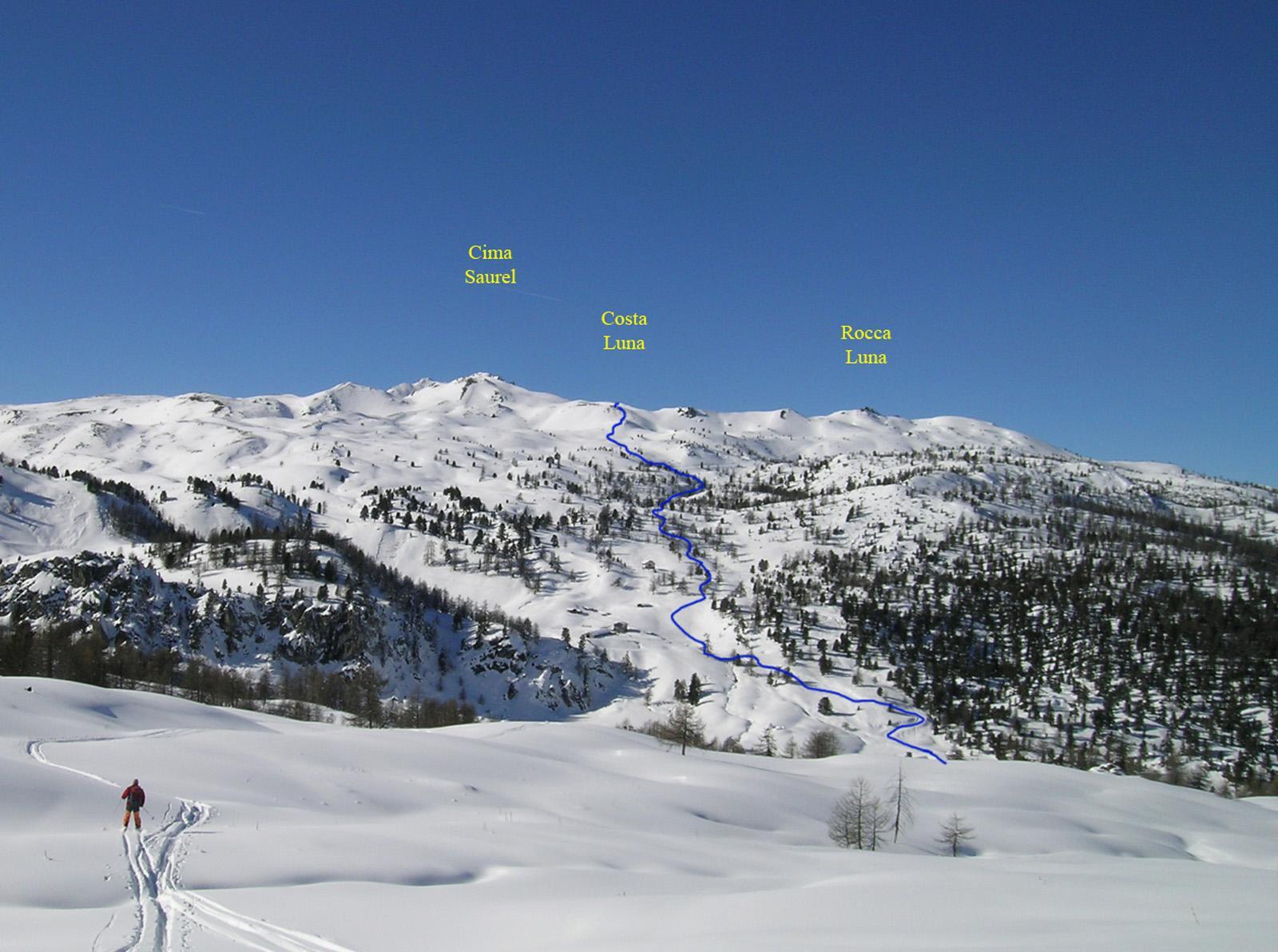 L'itinerario visto dal Col Begino scendendo nel 2007