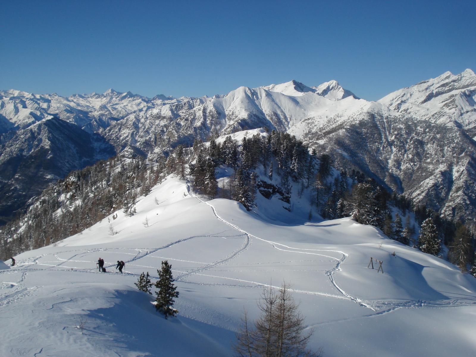 Leretta (Punta) e quota 2051 m da Pian Coumarial per il versante NO 2013-12-29