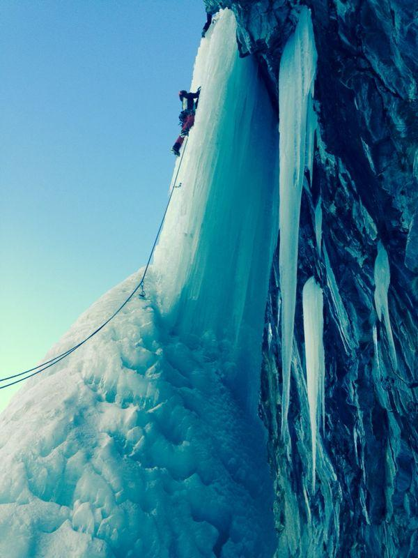 Hard-Ice in the Rock Direct (Cascata) 2014-02-27