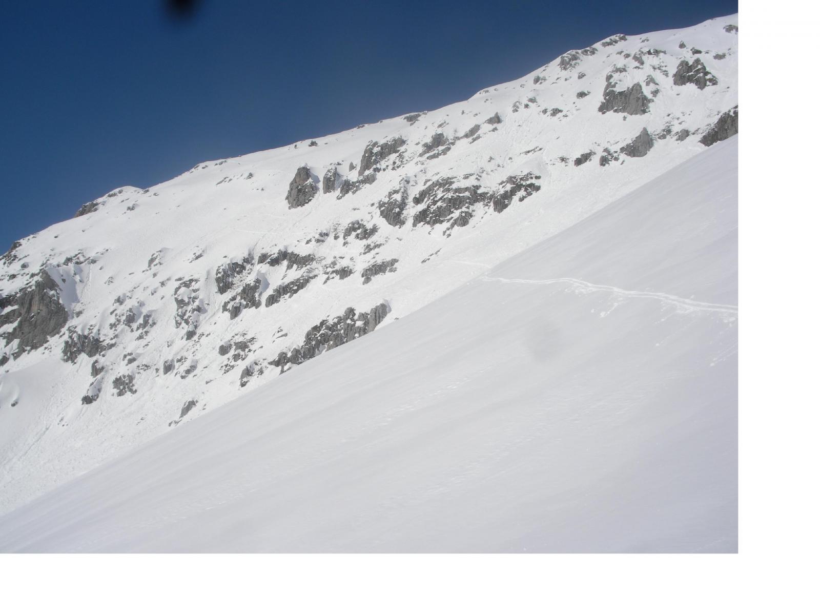 la parete di misto appena scesa  dalla valle del Cros(parte alta)