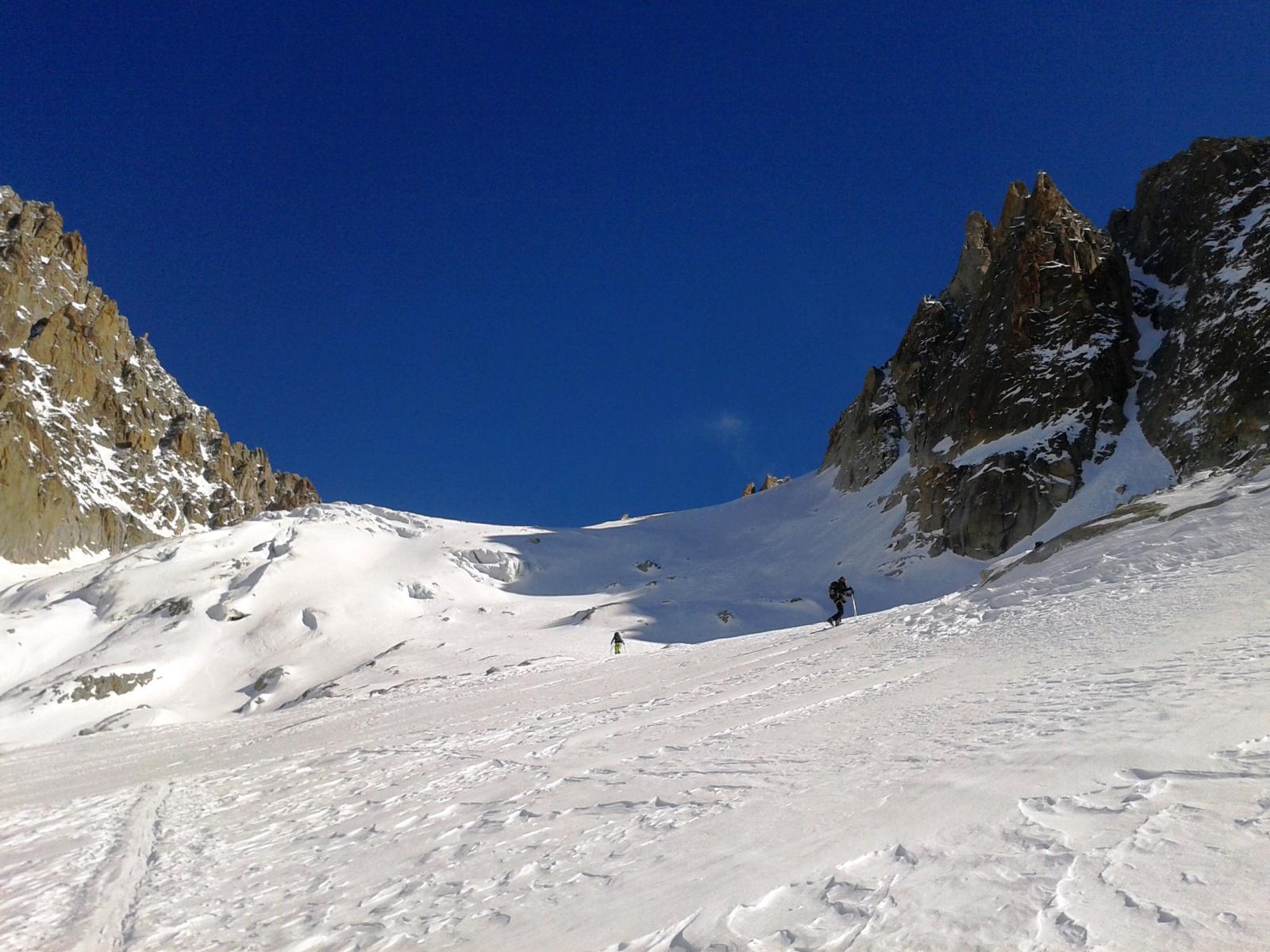 Sul Glacier du Chardonnet dopo il tratto ripido