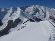 Colle dell'Arpione e crinale di salita dalla cima