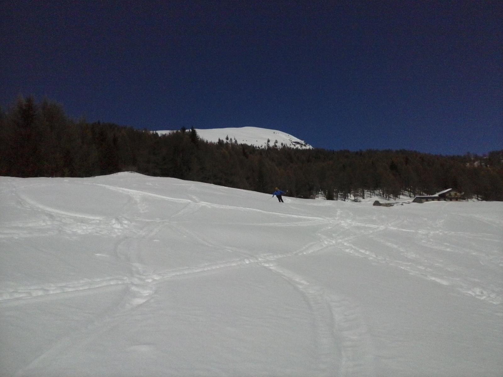 il sottoscritto all'uscita dal bosco in neve pesantina...