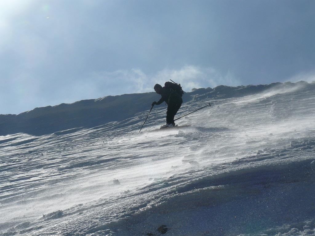 ingresso secondo canalino su neve dura