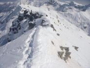 la cresta con l'anticima vista dalla punta