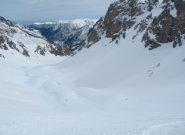 gli ultimi pendii sono in neve marcia, ma sciabile...