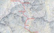 stralcio di mappa CNS con la via di salita