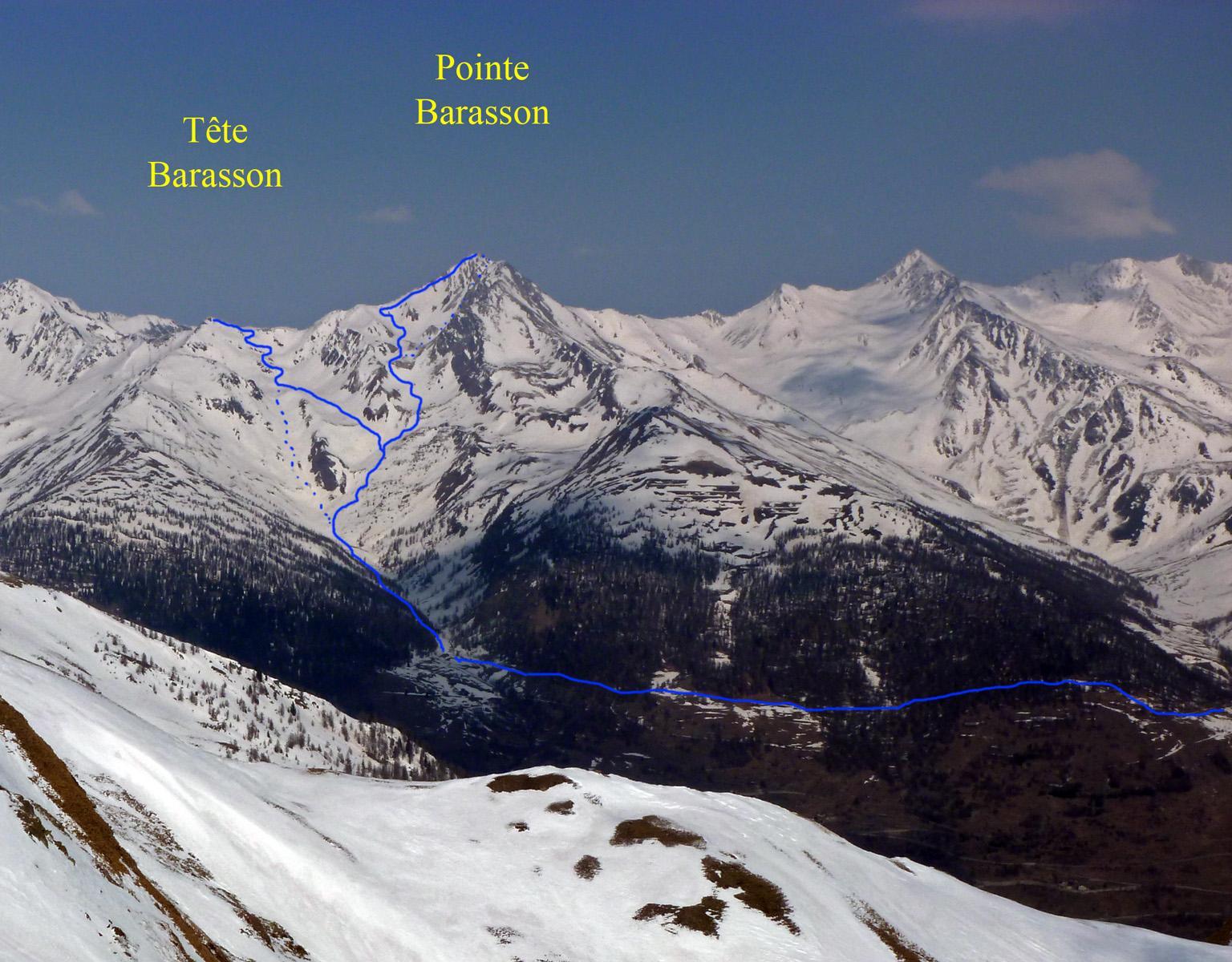Tête e Pointe de Barasson, viste dalla Croix de Chaligne nel 2011