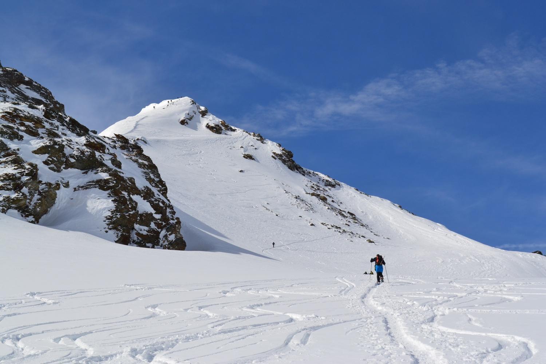sul ghiacciaio in direzione della cima