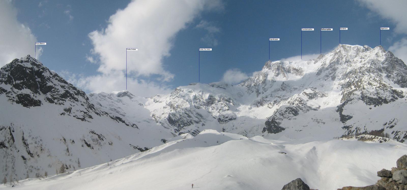 Dal ghiacciaio del Belvedere unico momento senza nuvole sulle punte