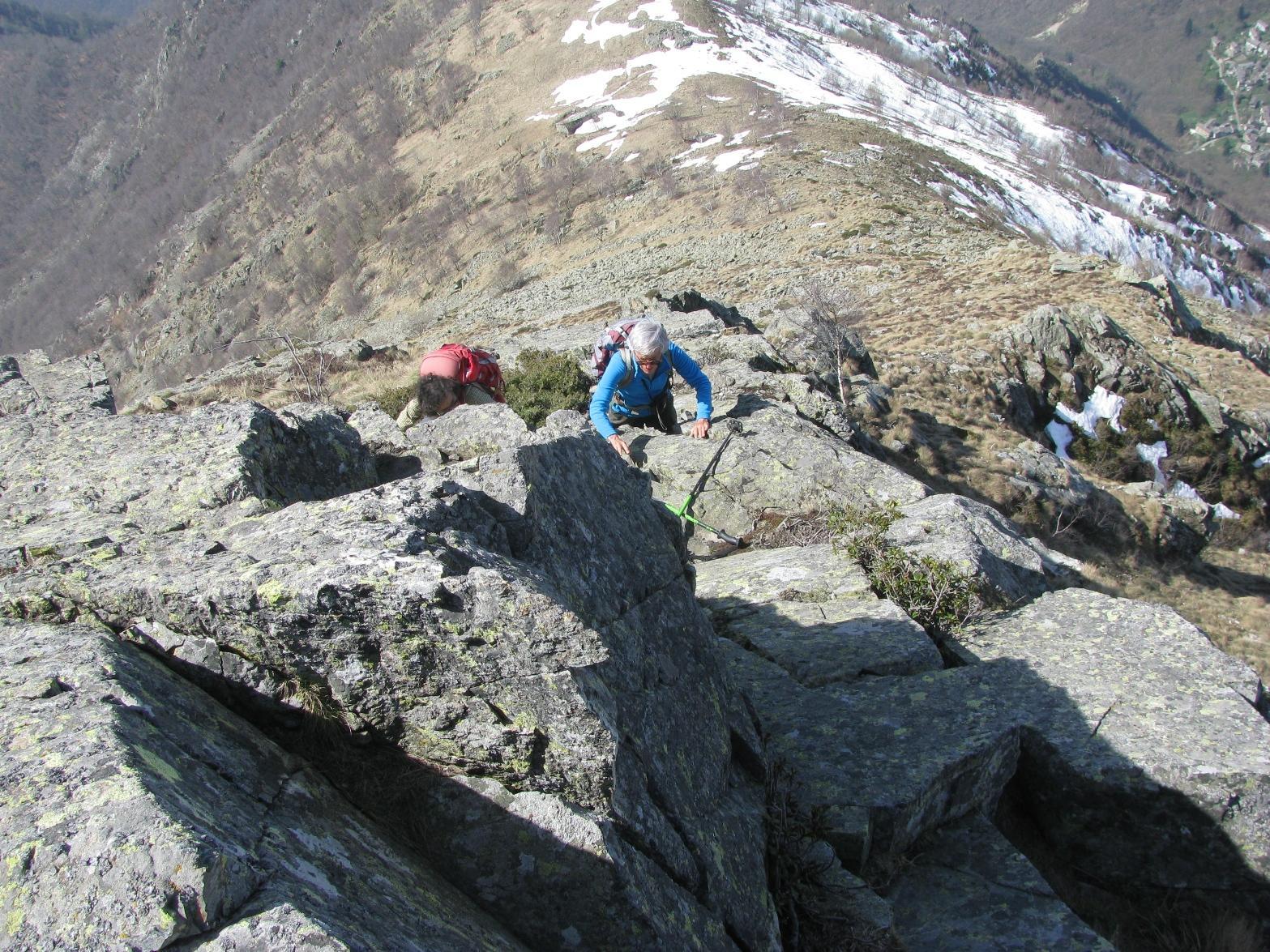 Parte finale del percorso, sulle roccette terminali della cresta