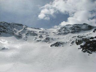 il versante nord del Boshorn con la variante percorsa in neve pressata