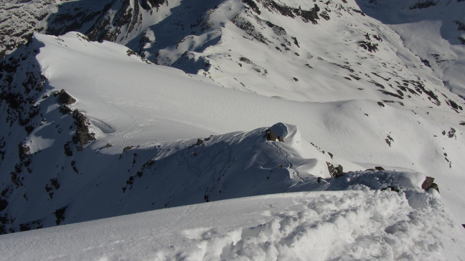 La cresta finale osservata dalla cima