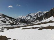 La vista del percorso dietro di noi, macchie di neve e i prati iniziano a scoprirsi