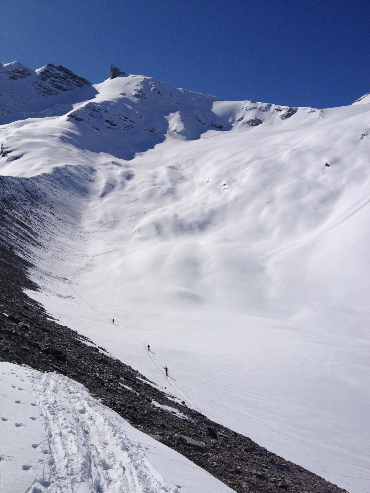 Traccia di salita dalla morena del ghiacciao d'Invergnan