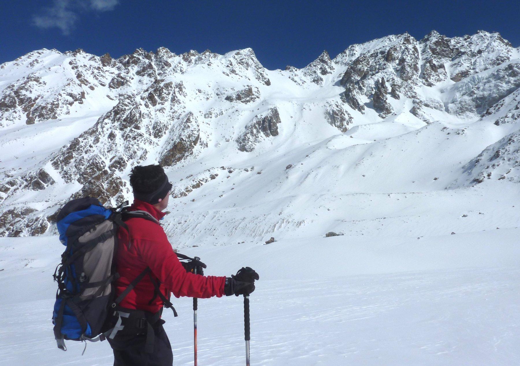 di fronte alla impressionante parete nord del Ullutau 4207 m