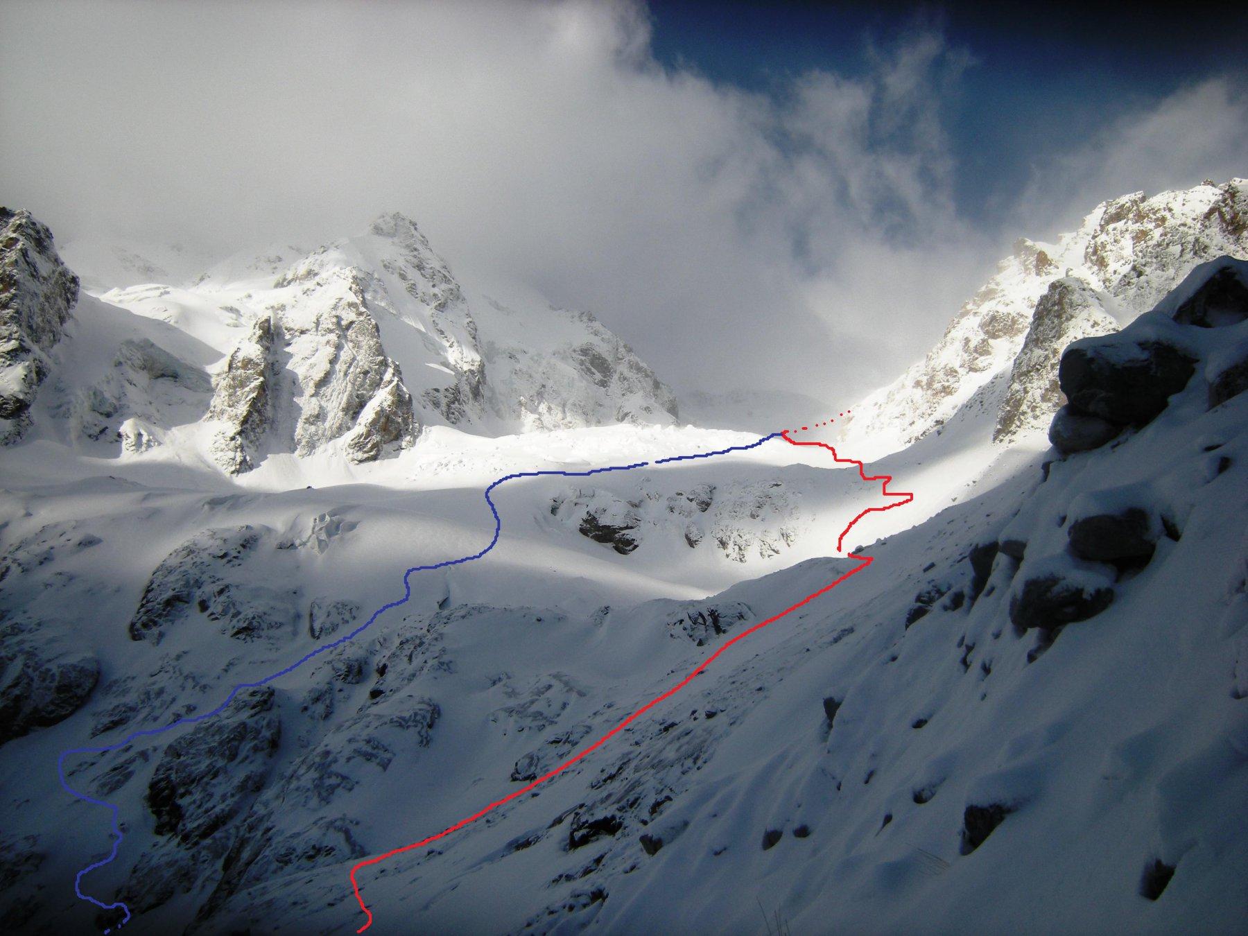 salita al Gumachi Pass: i due possibili itinerari