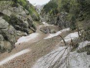 La valanga su uno dei rami del torrente Poussine