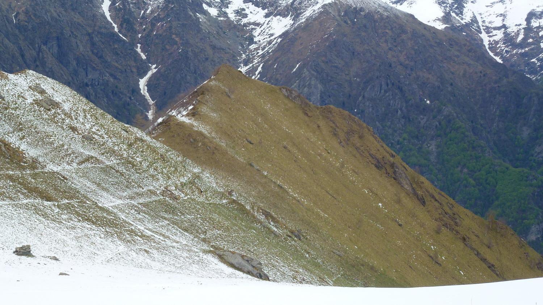 Punta del Sionei dall'Alpe a dx la cresta di salita