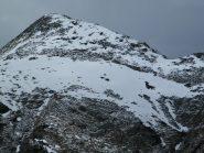 Zoomata sulla cima dal Rifugio. Sulla Dx si distingue la nostra traccia
