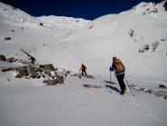 verso i primi pendii che portano al col du mont