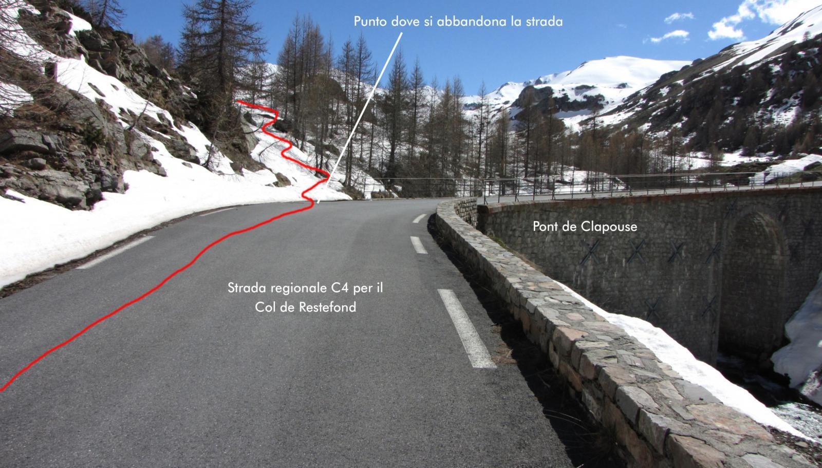il punto dove occorre abbandonare la strada per il Col de Restefond