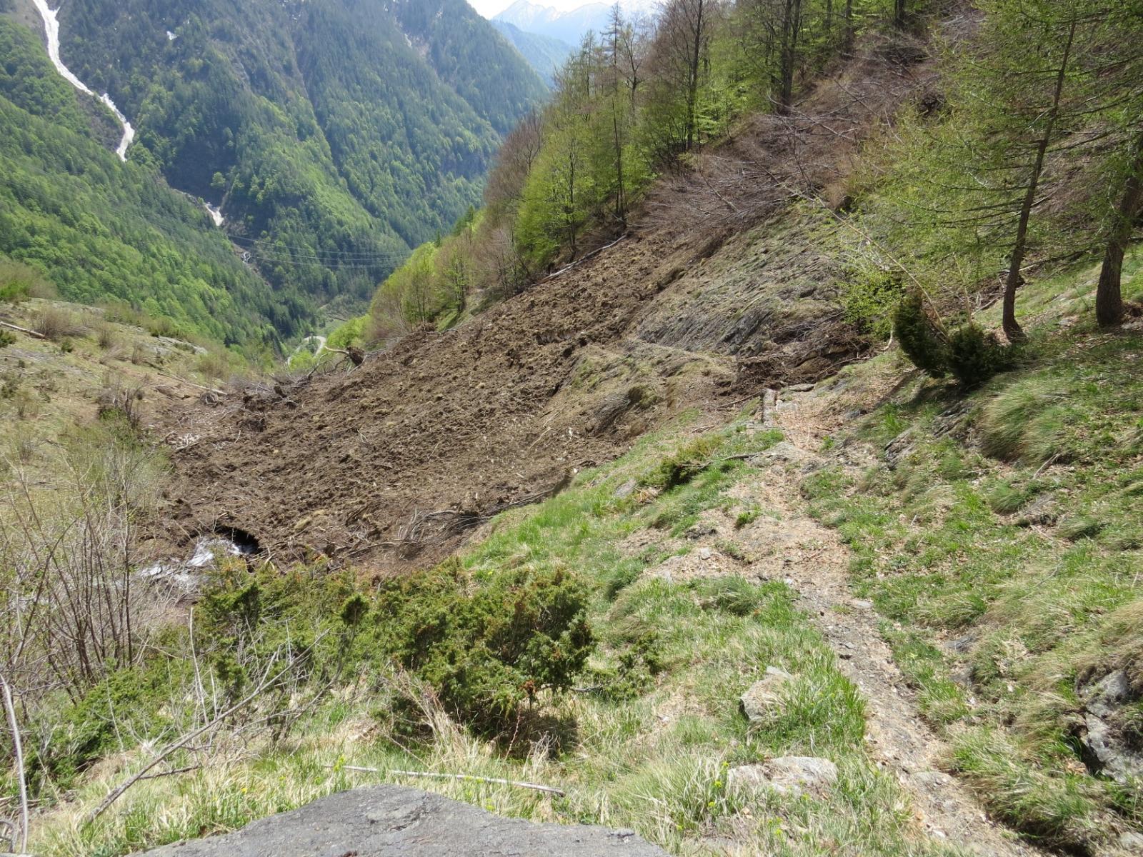 Valanga terrosa sul sentiero di discesa
