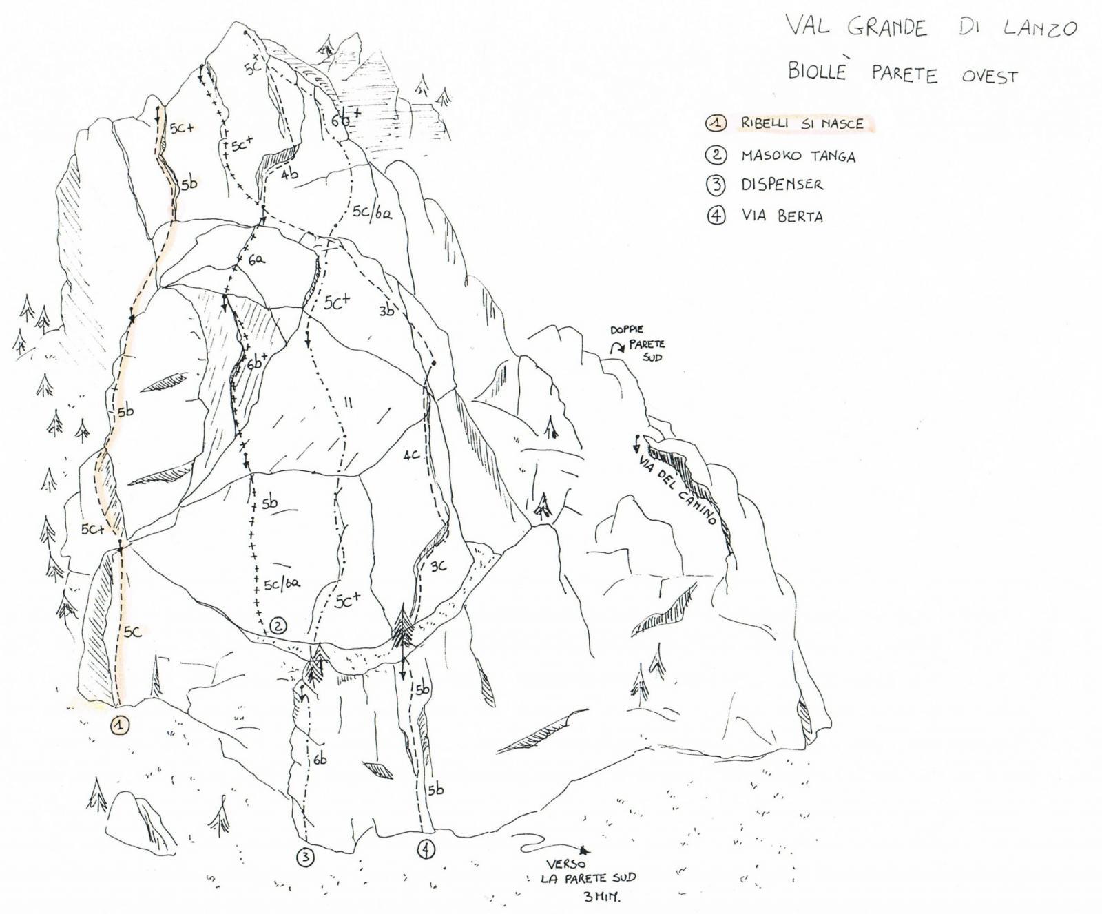 schizzo delle vie parete ovest biollè
