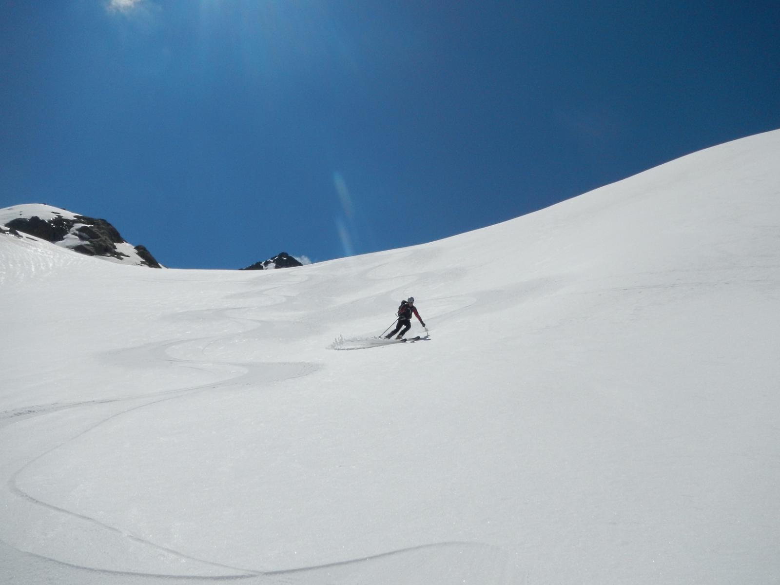 nella parte alta del percorso: una serie di dossi ideali per lo sci